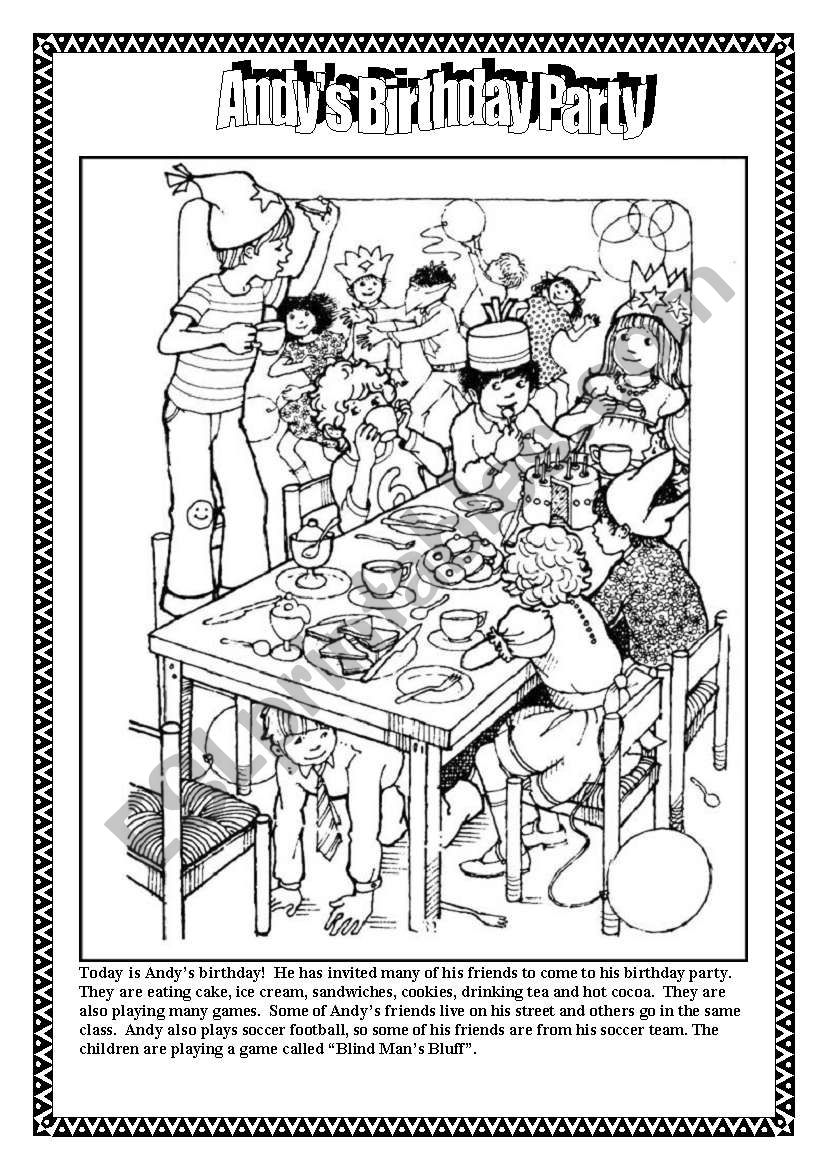 Andy´s Birthday Party worksheet