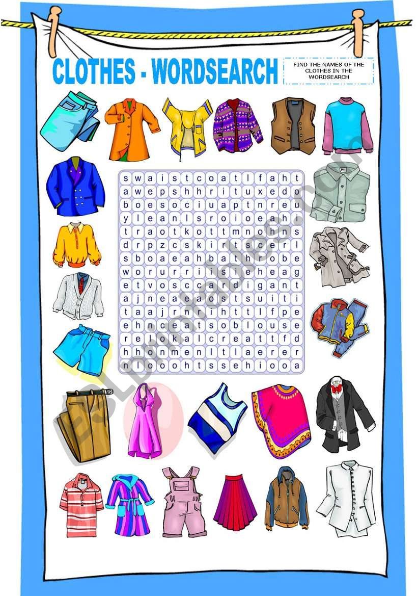 CLOTHES - WORDSEARCH worksheet