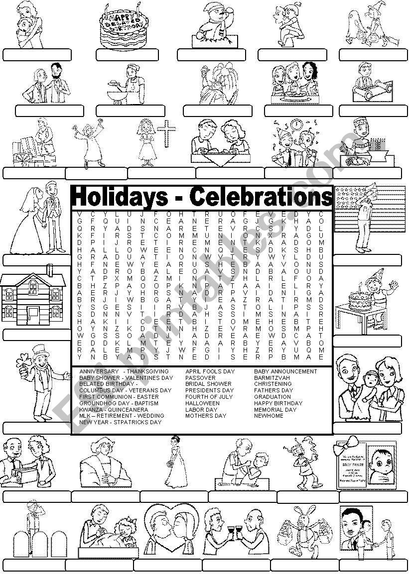 picture regarding Labor Day Word Search Printable called Wordsearch Holiday seasons AND CELEBRATIONS - ESL worksheet via Im Lety