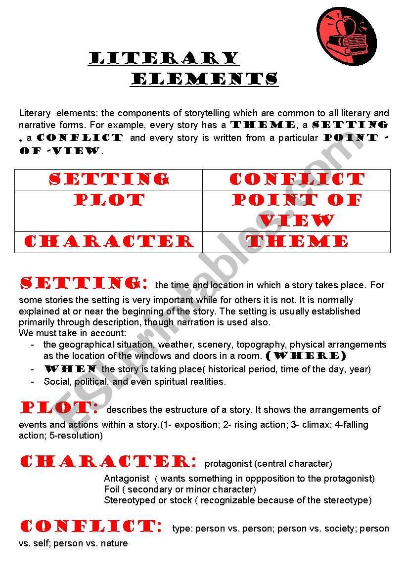 literary elements  worksheet