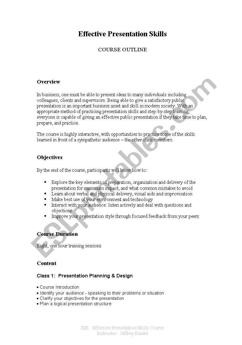 english worksheets  effective presentation skills class