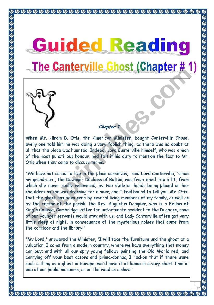 Reading & Writing Project (final task: writing a ghost story)- Extract from The Canterville Ghost by Oscar WILDE # 1. (COMPREHENSIVE:  17 pages, Over 53 TASKS, with complete KEY)