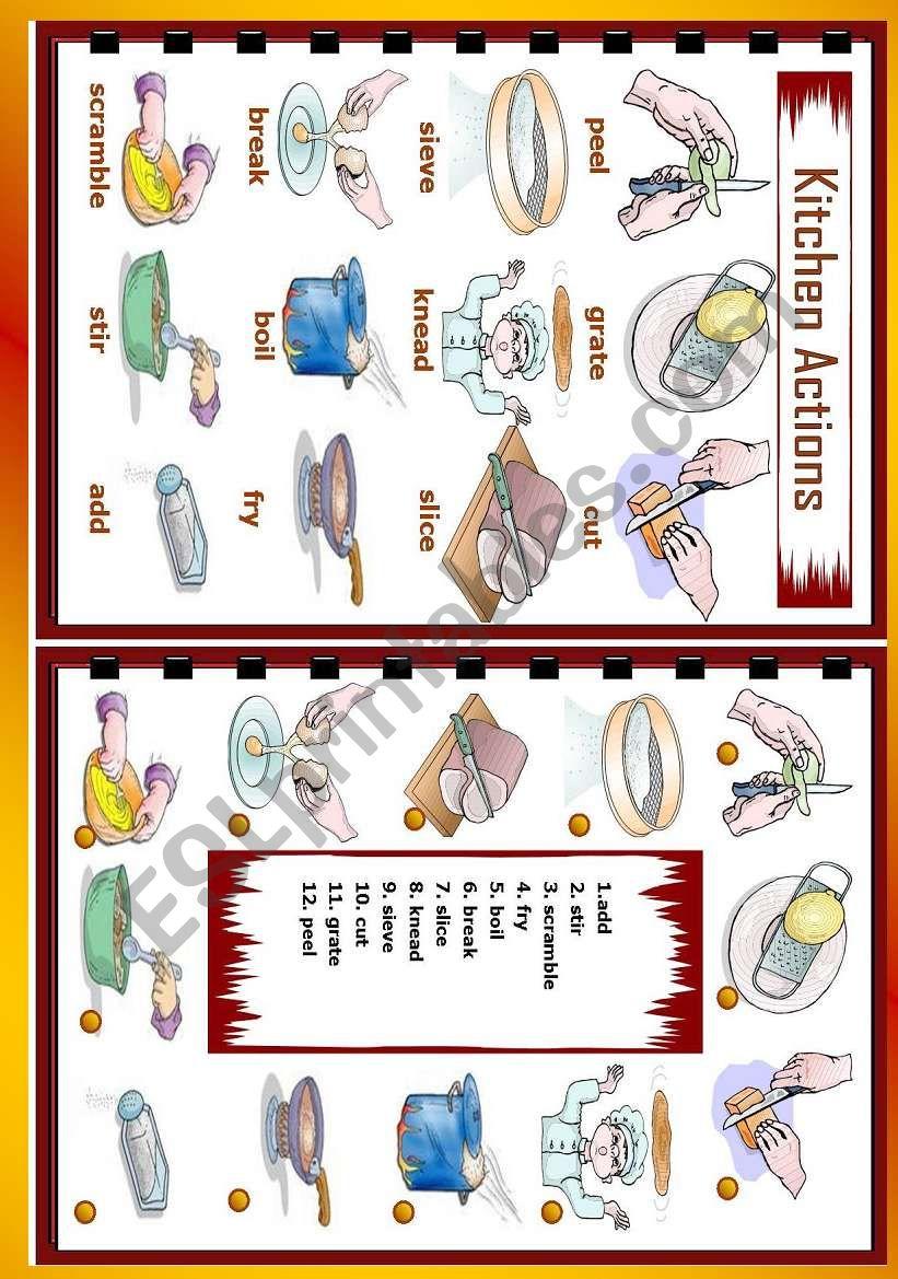 Kitchen actions worksheet