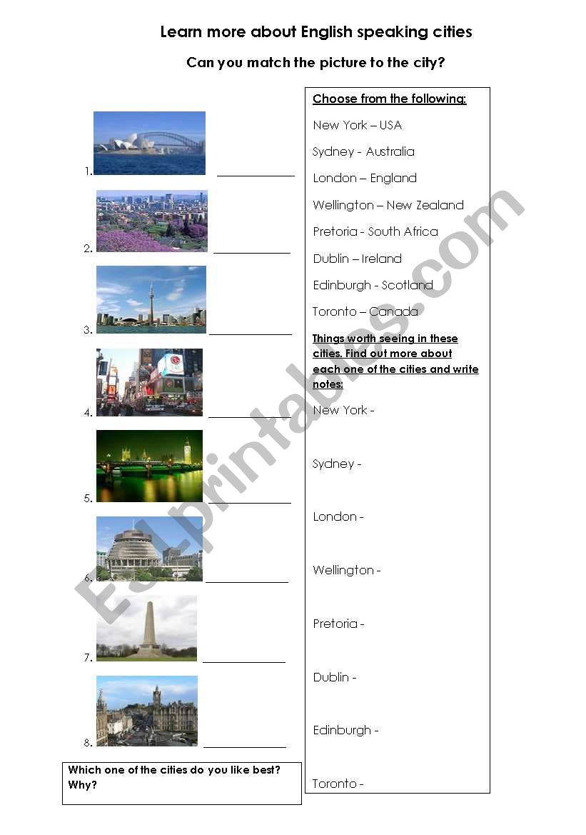 English speaking cities worksheet