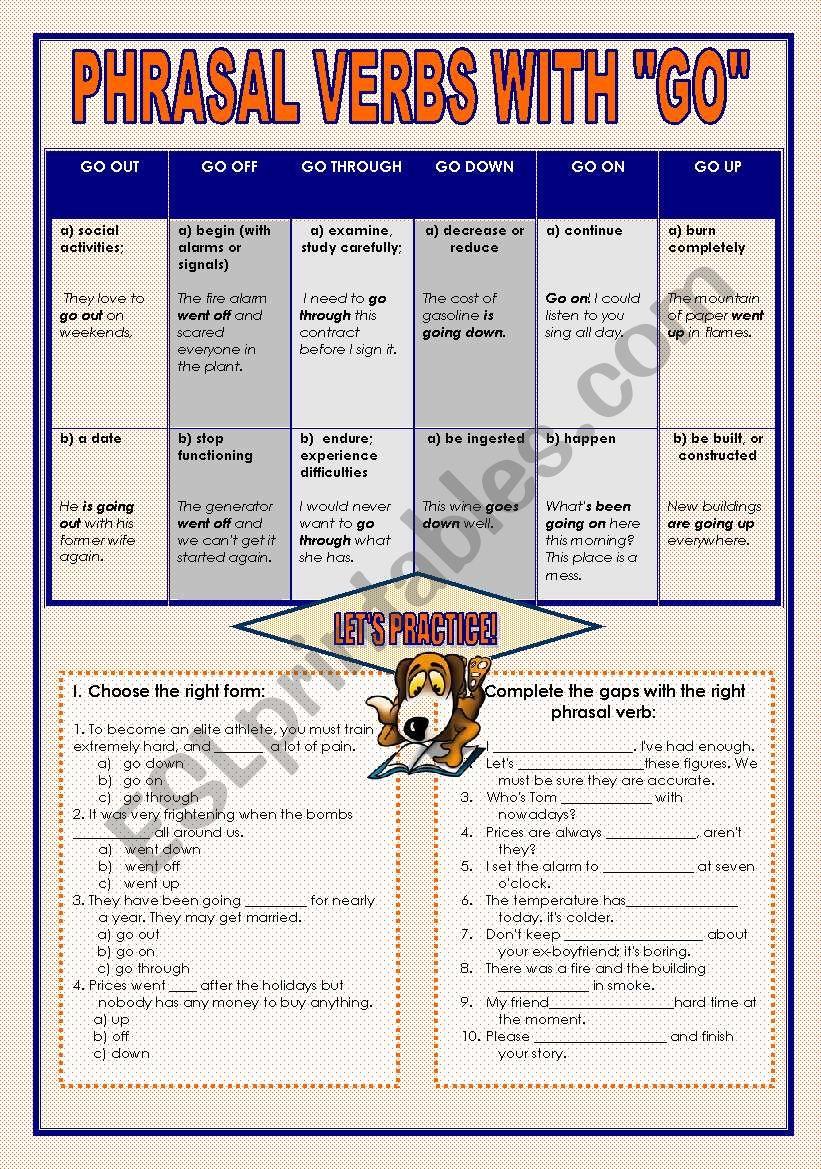 Phrasal verbs with GO worksheet