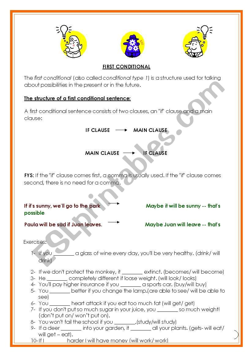 First Conditional Grammar and Exercises