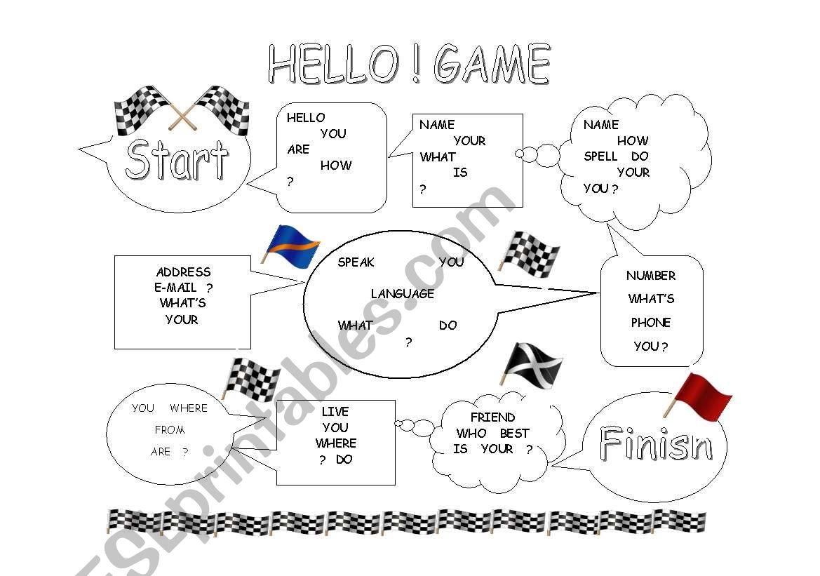 Hello!  Greetings Game worksheet
