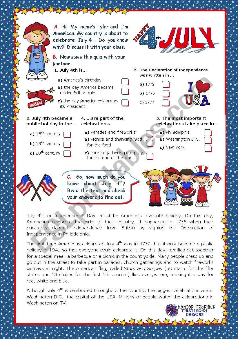 July 4th - Happy Birthday America - Quiz + Reading comprehension for Elementary and Lower intermediate students