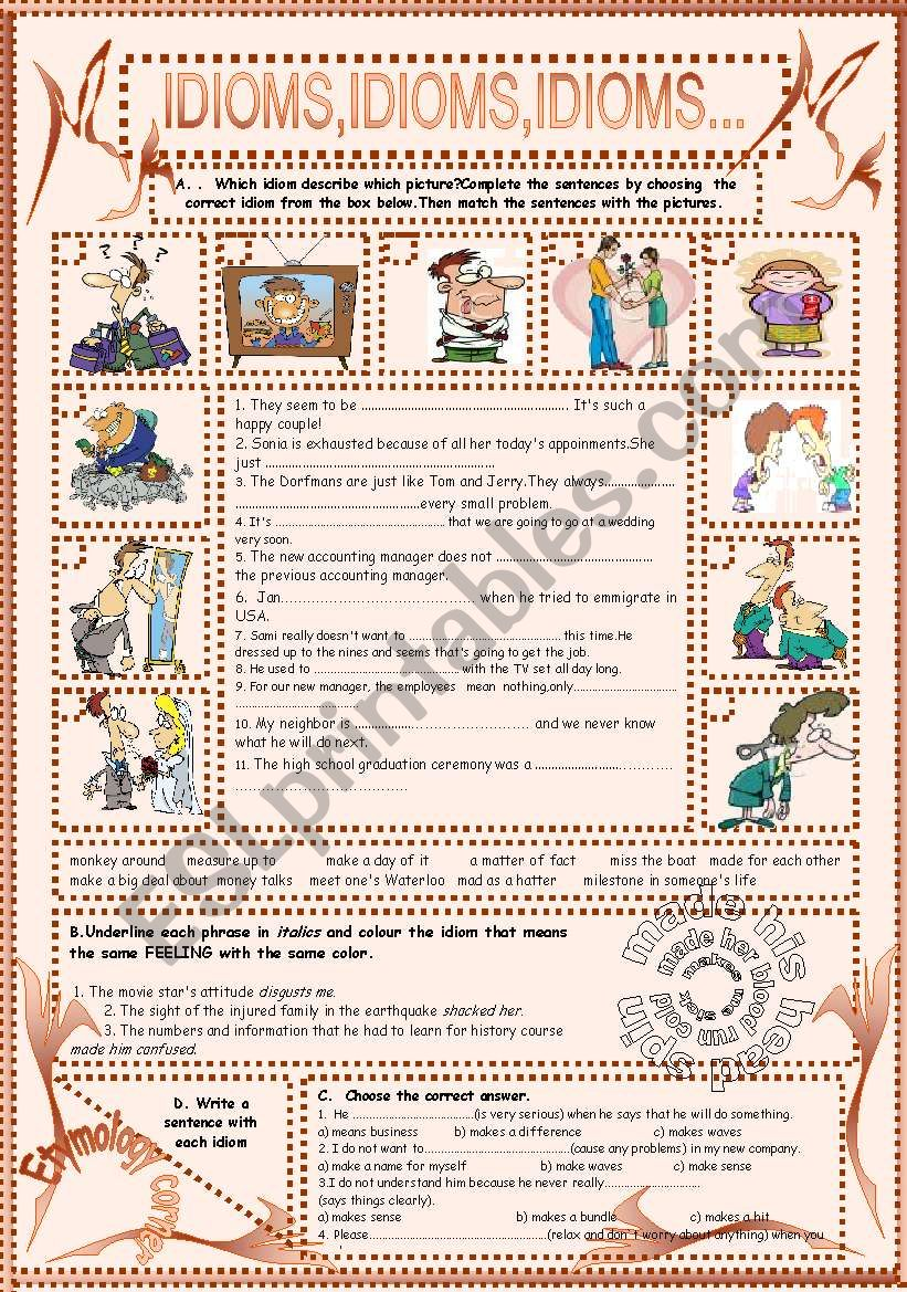 IDIOMS,IDIOMS,IDIOMS...(13) worksheet