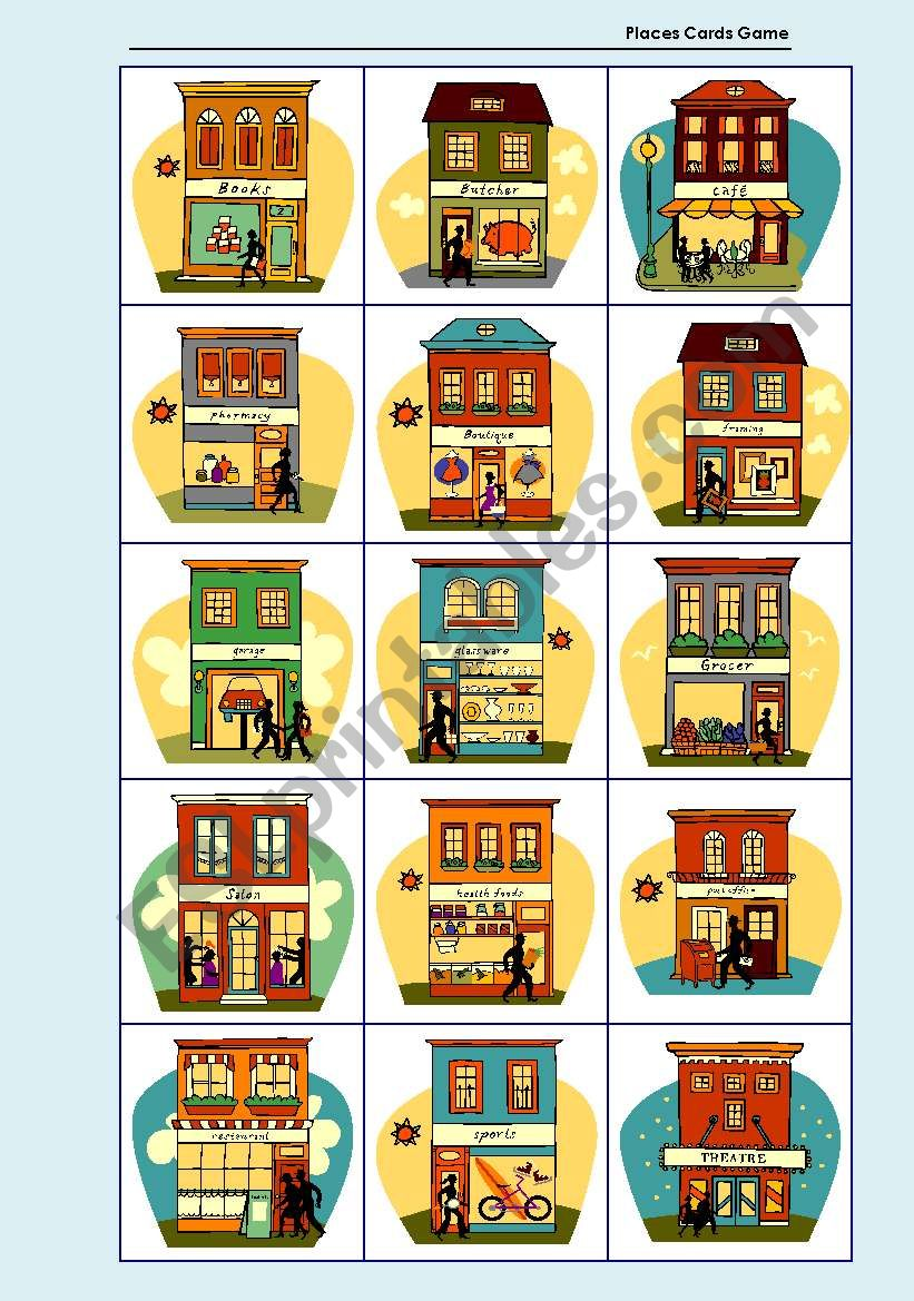 Places Cards Game worksheet