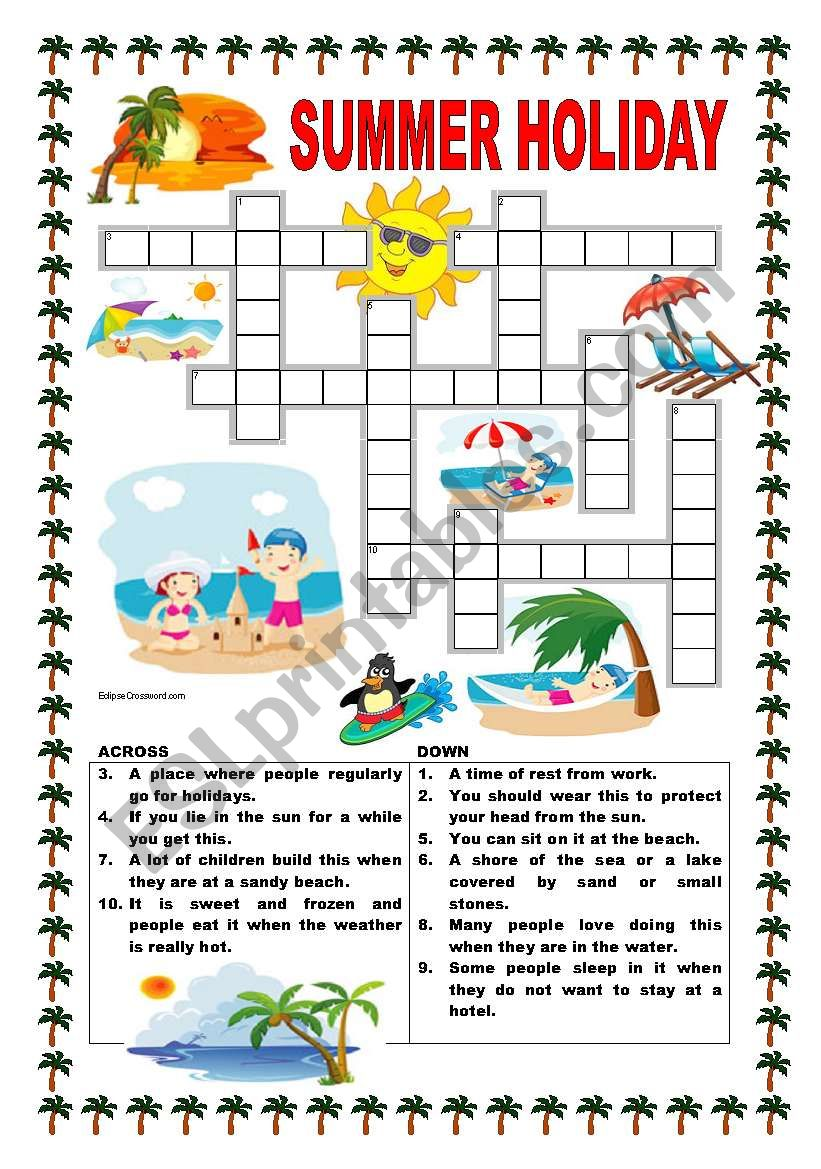 image about Summer Crossword Puzzle Printable titled Summer months family vacation - ESL worksheet by means of ildibildi