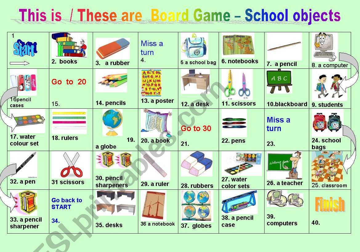 This is / These are Board game - School Objects