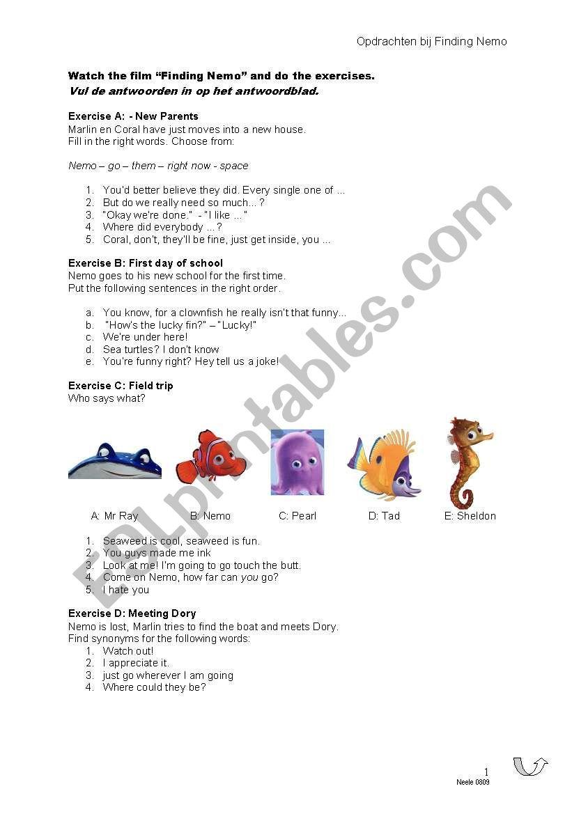 Finding Nemo Esl Worksheet By Nelicka