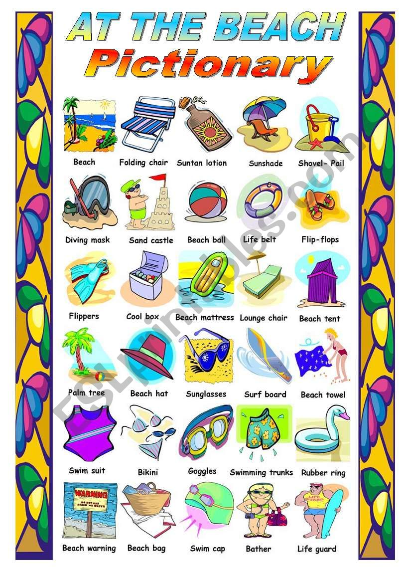 AT THE BEACH  - PICTIONARY worksheet
