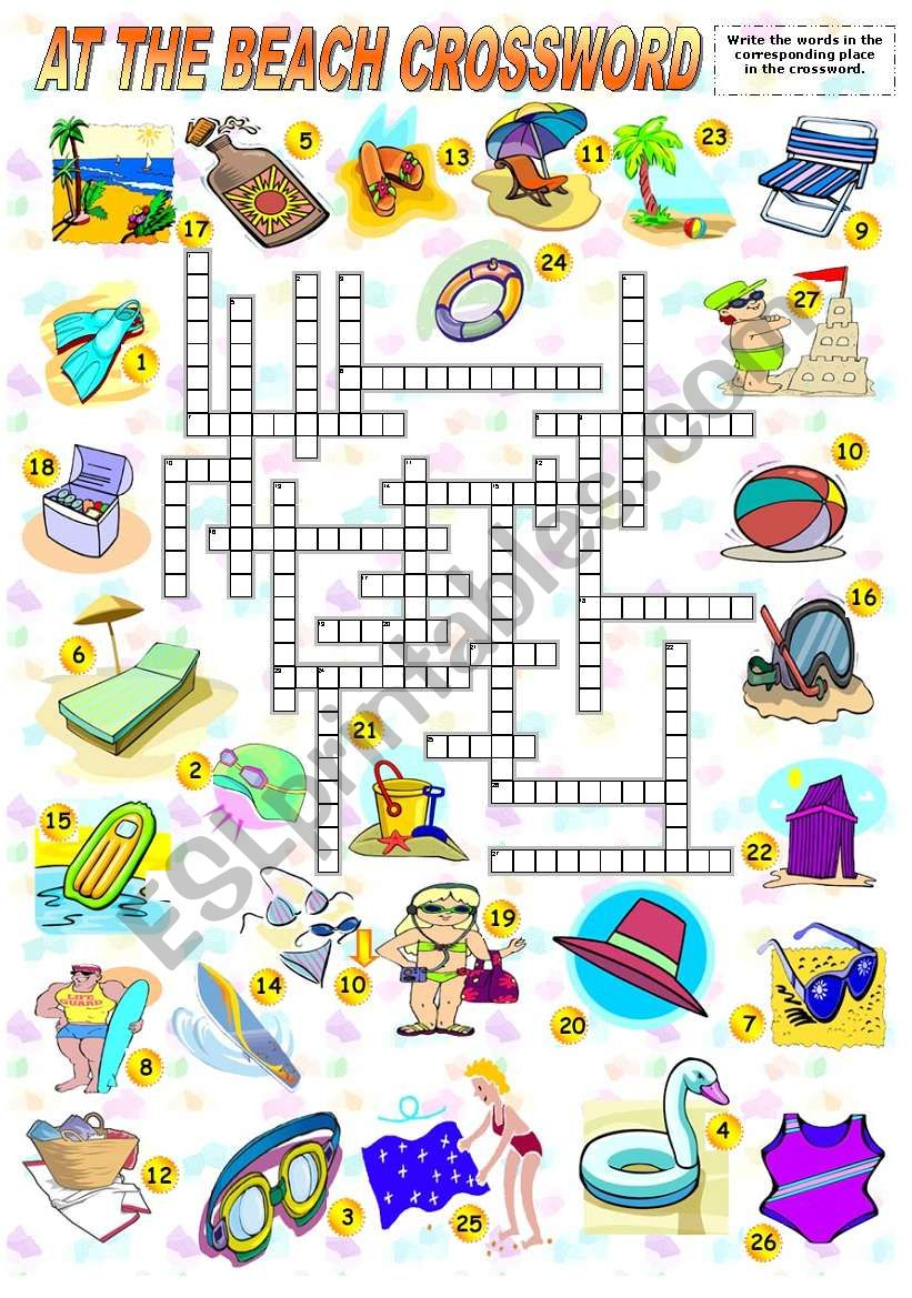 English worksheets: AT THE BEACH - CROSSWORD