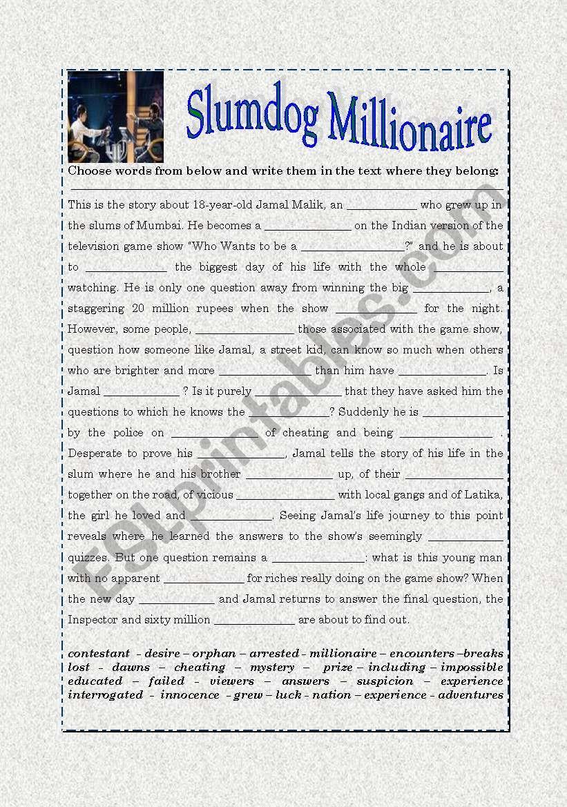 Slumdog Millionaire worksheet