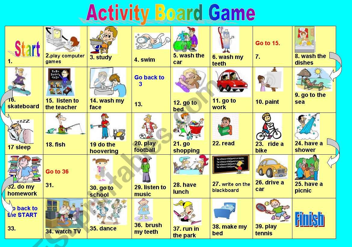 Daily Activities Board Game worksheet