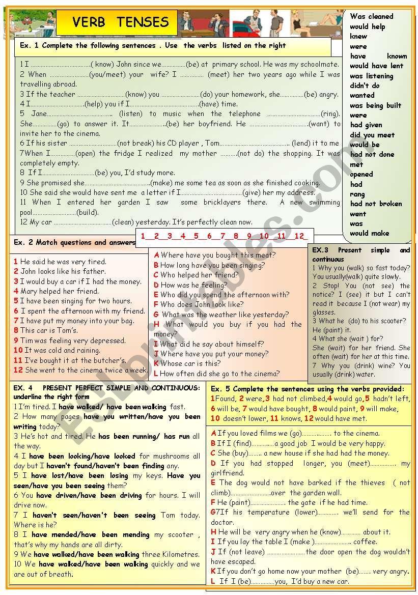 Verb tenses: practice worksheet