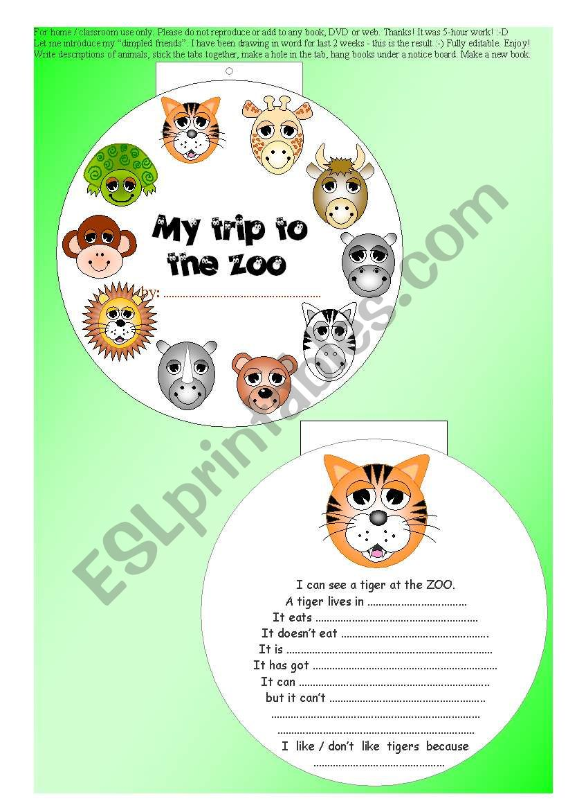 original 10-paged ANIMAL MINIBOOK + 5 exercises -  read + vocab + rephrase... EDITABLE ((7 pages))