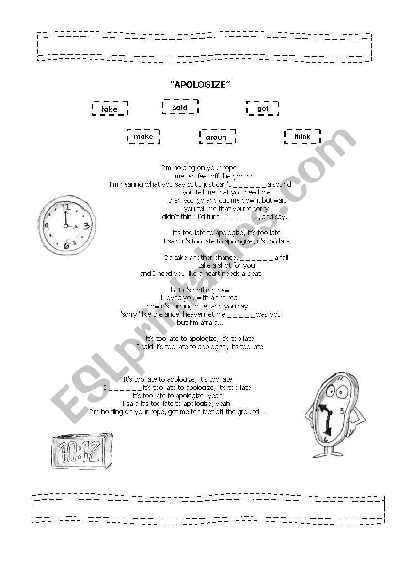APOLOGIZE worksheet