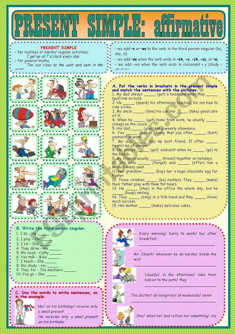 Present Simple: affirmative worksheet
