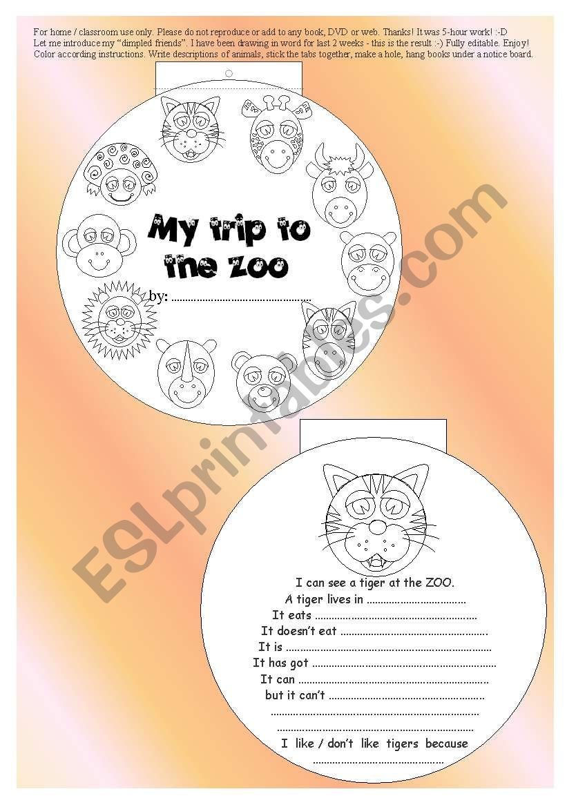 original 10-paged ANIMAL MINIBOOK + 5 exercises - read + vocab + rephrase... BW, printer friendly, EDITABLE ((7_pages))