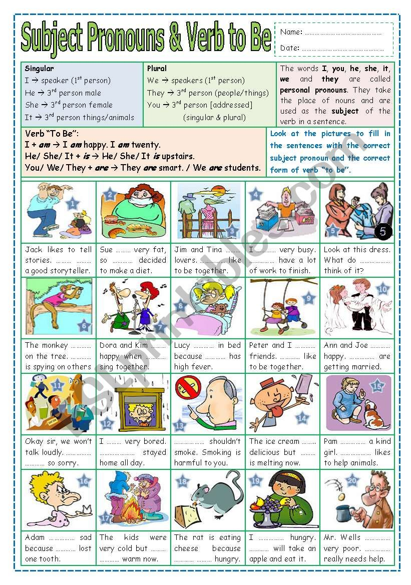 Subject Pronouns & Verb to Be worksheet