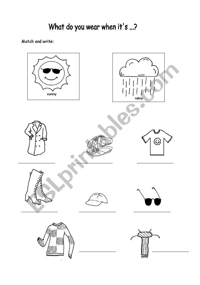 Clothes And Weather Esl Worksheet By Sophia13