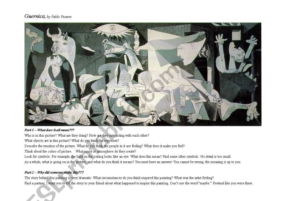 Art - Guernica by Picasso worksheet