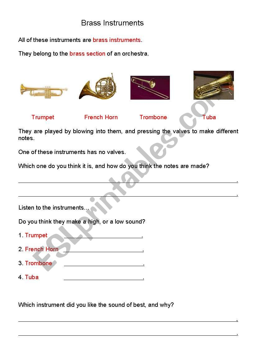 English worksheets: Brass Instruments