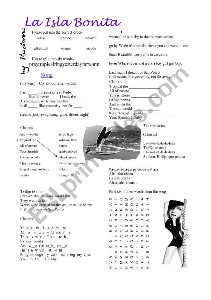 La Isla Bonita by Madonna worksheet