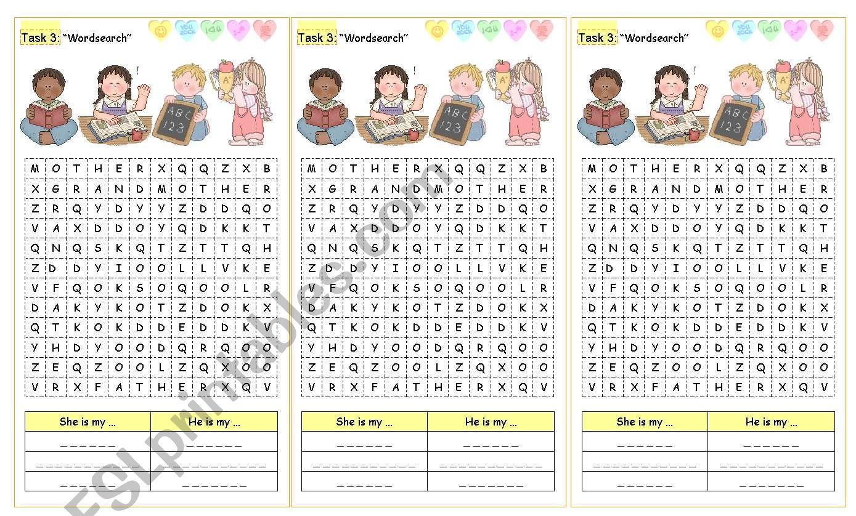 Family members wordsearch worksheet