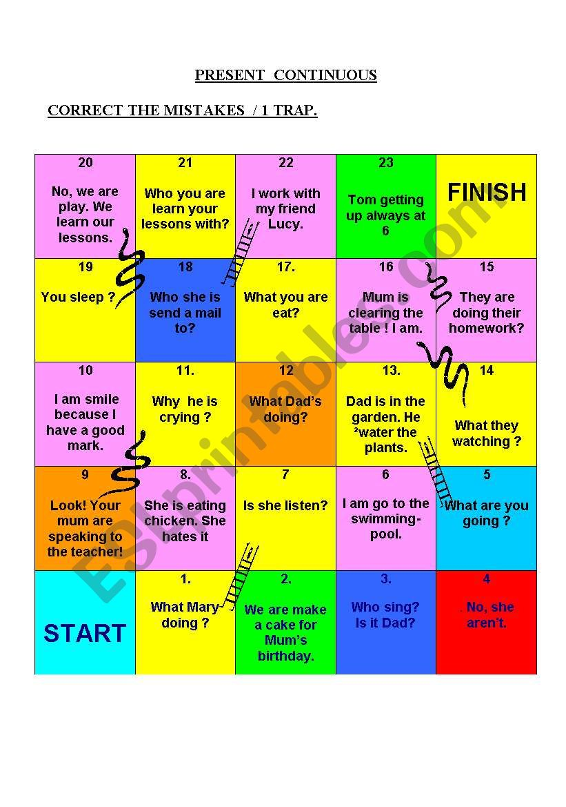 SNAKES and LADDERS / PRACTISE THE PRESENT CONTINUOUS