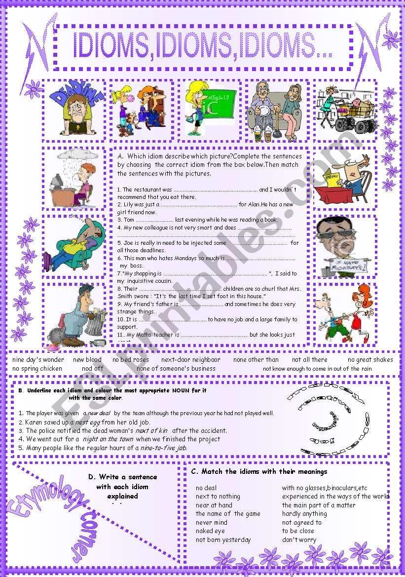 IDIOMS,IDIOMS,IDIOMS...(14) worksheet