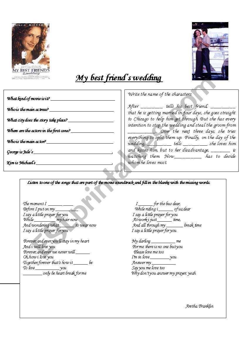 My Best Friend S Wedding Soundtrack.My Best Friend S Wedding Esl Worksheet By Isabella Bel