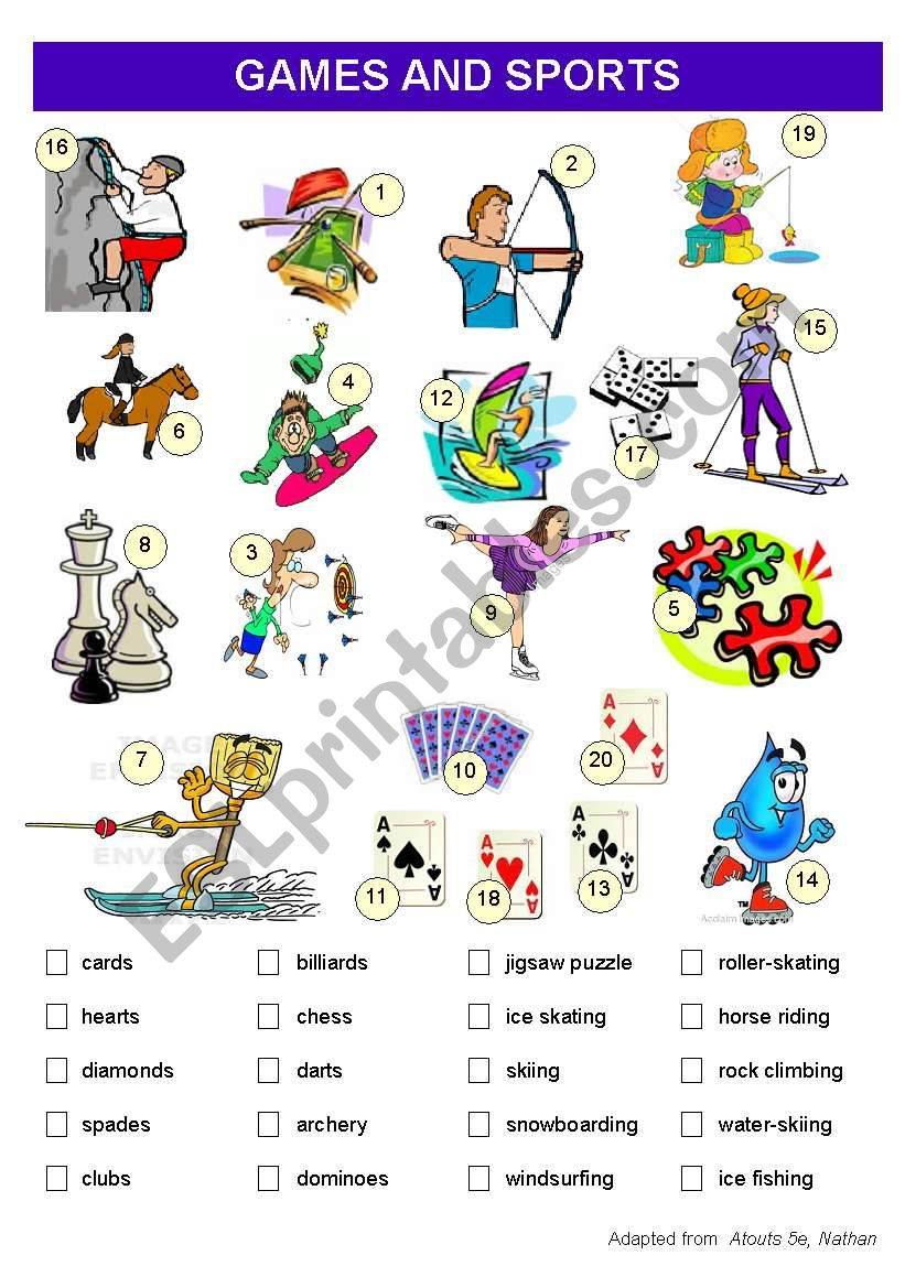 image relating to Printable Vocabulary Game referred to as Game titles and Sporting activities Vocabulary worksheet - ESL worksheet as a result of zeline