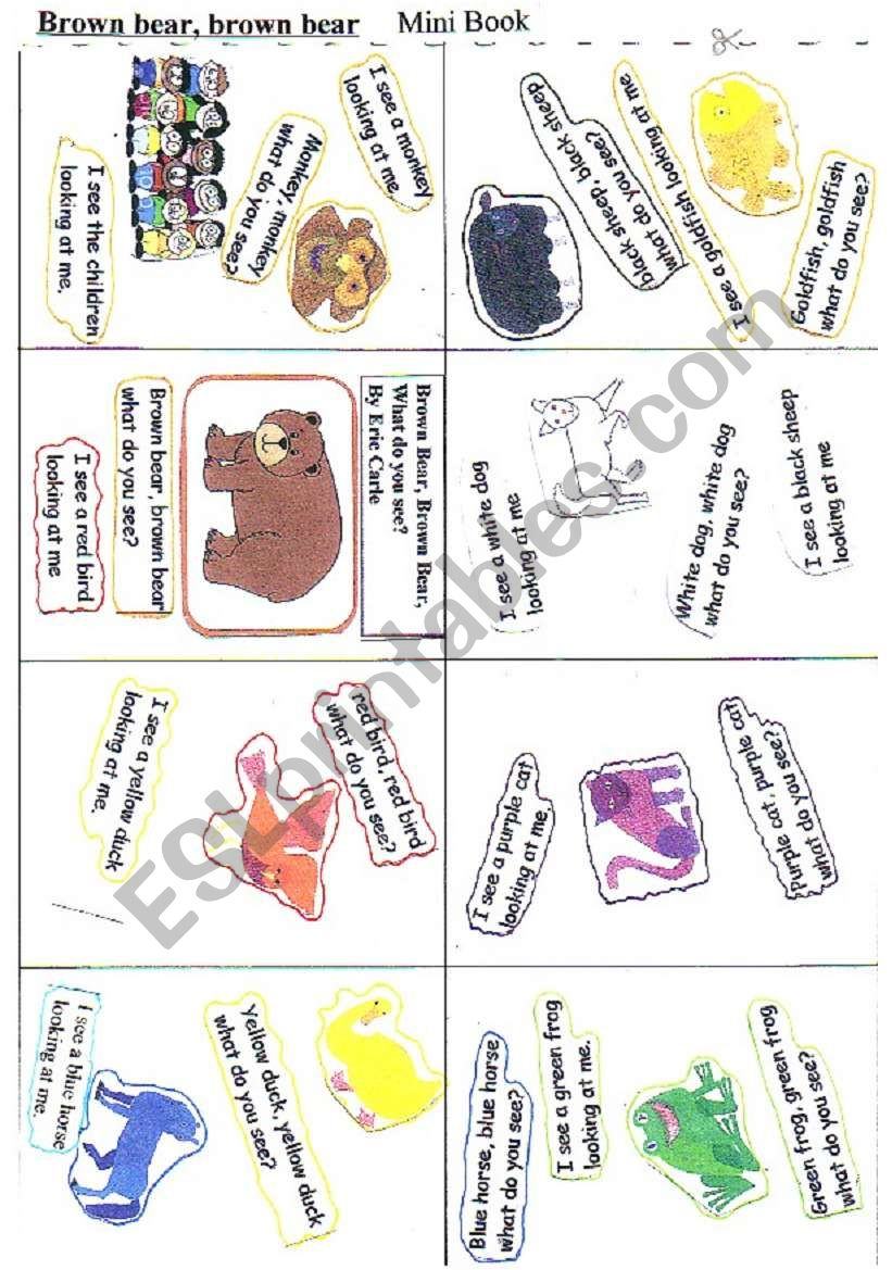 Brown bear   Mini book worksheet