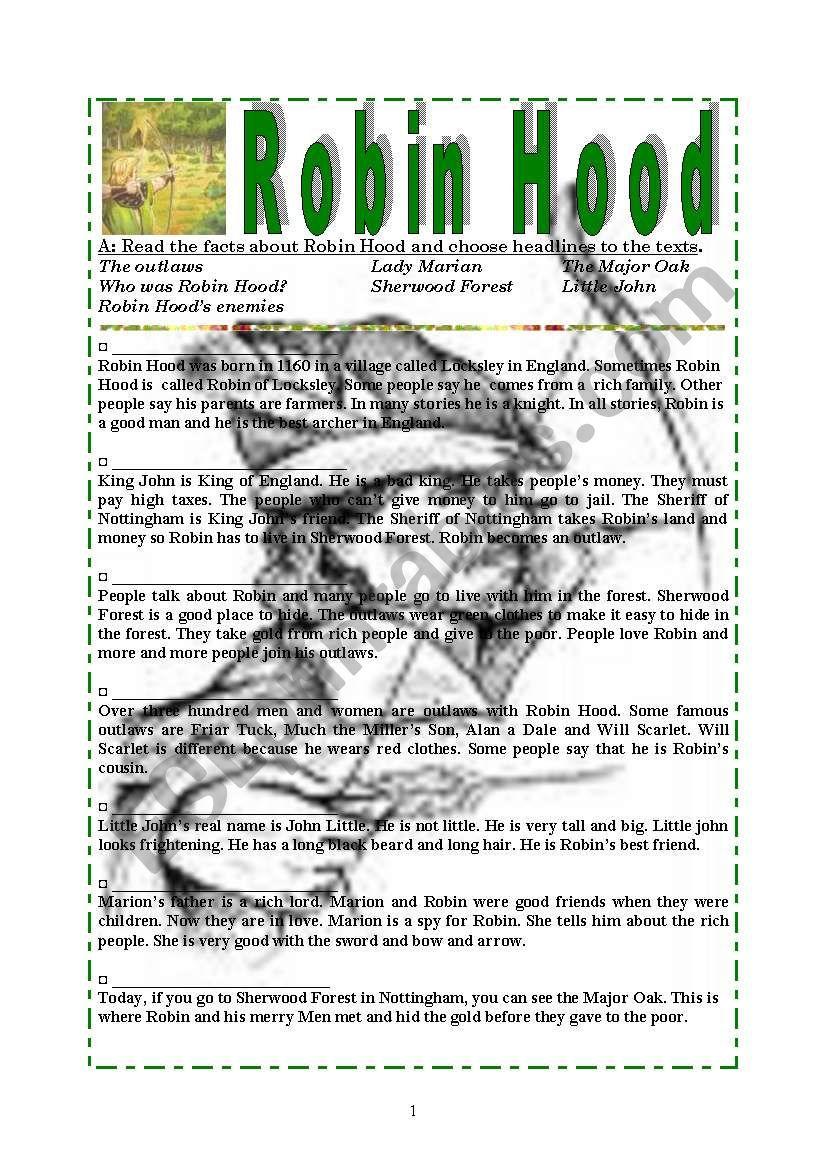 Robin Hood  Exercises worksheet