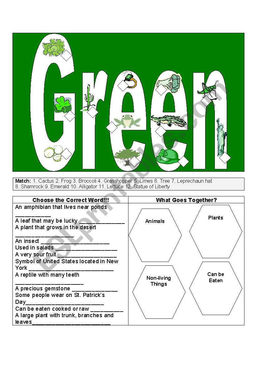 Green Things - ESL worksheet by j1220