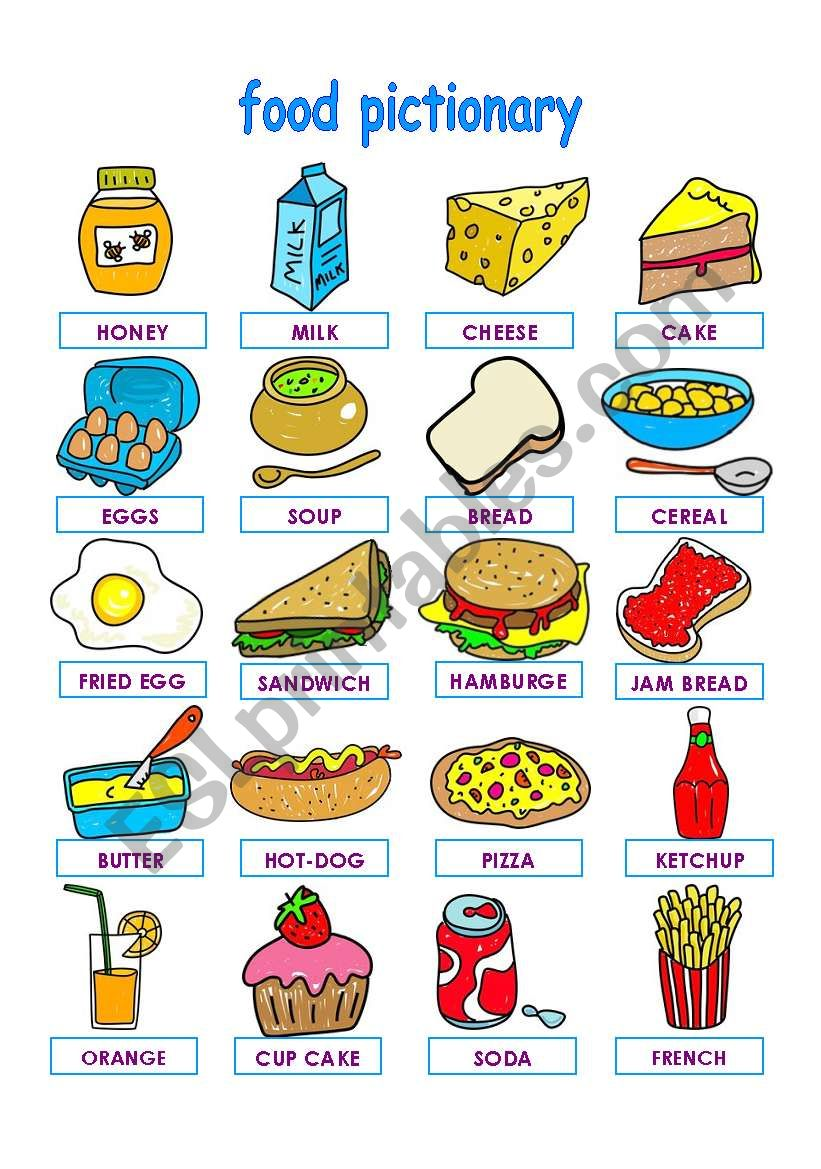 FOOD PICTIONARY PART 1 worksheet