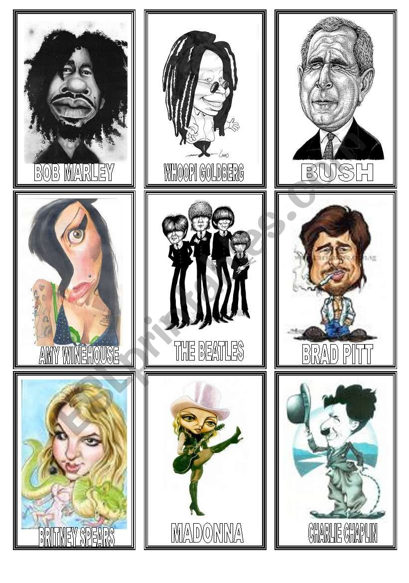 FAMOUS people CARICATURES game (1/3)