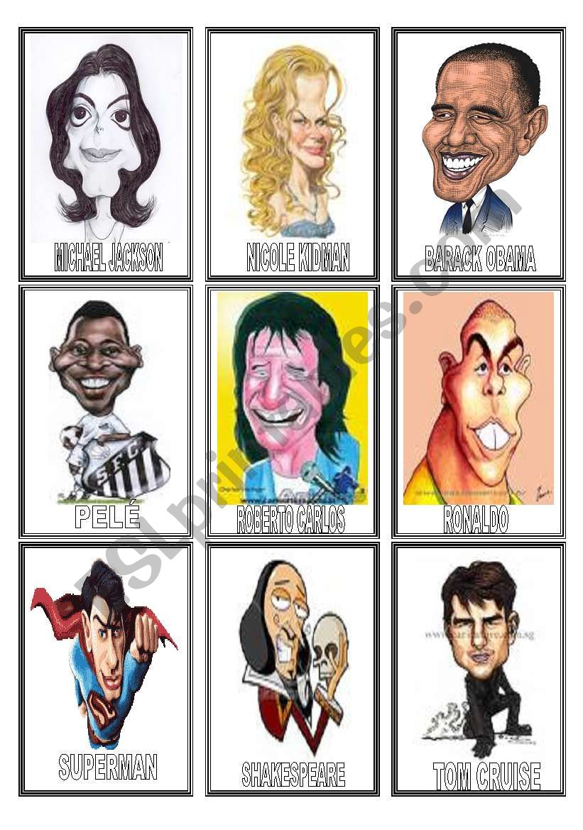 FAMOUS people CARICATURES game(2/3)