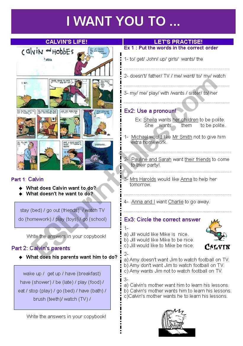 I WANT YOU TO.... worksheet