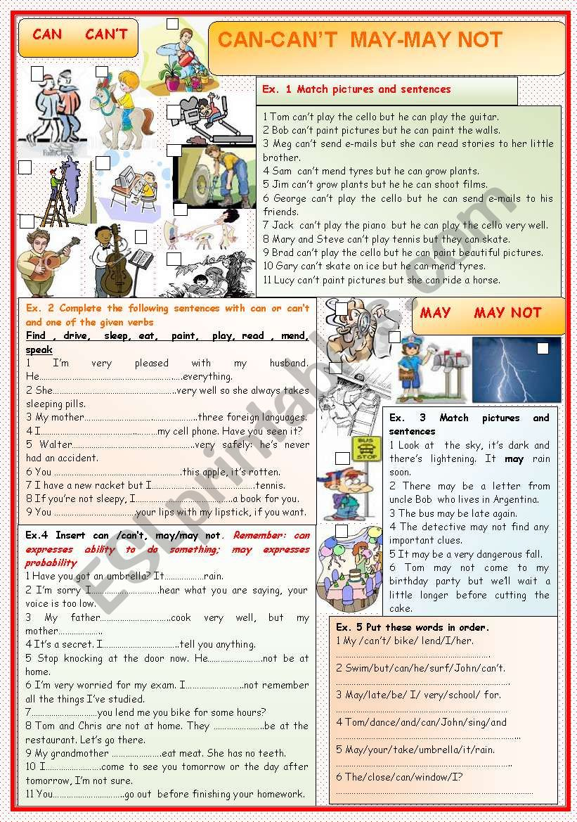 CAN  and  MAY worksheet