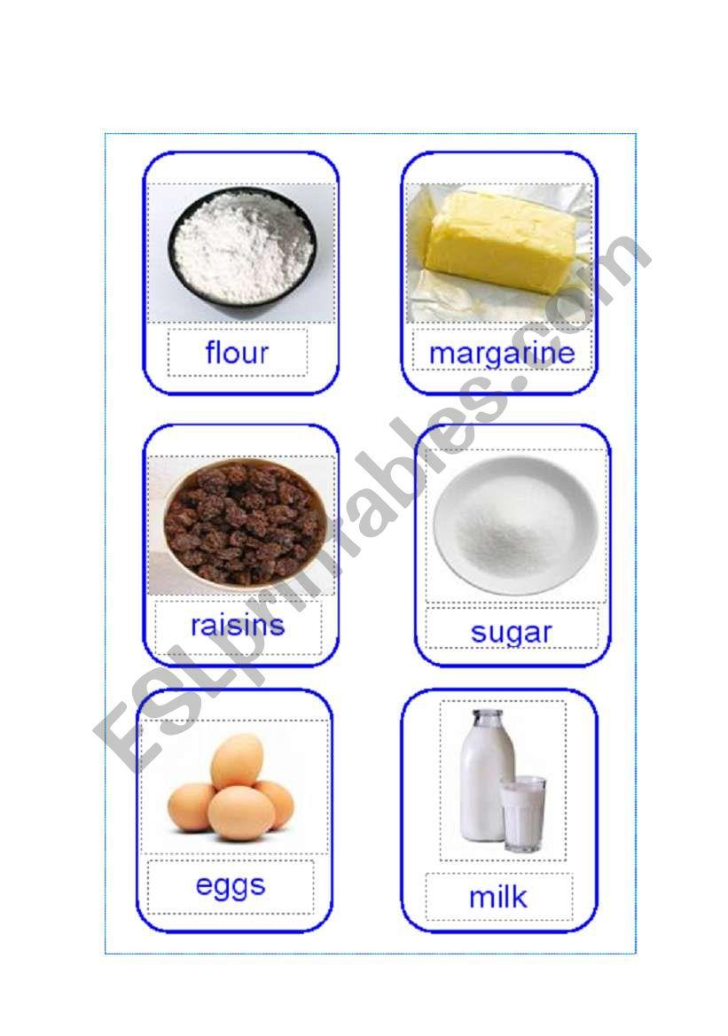 Rock Cake Ingredient Cards Esl Worksheet By Lydiakorea