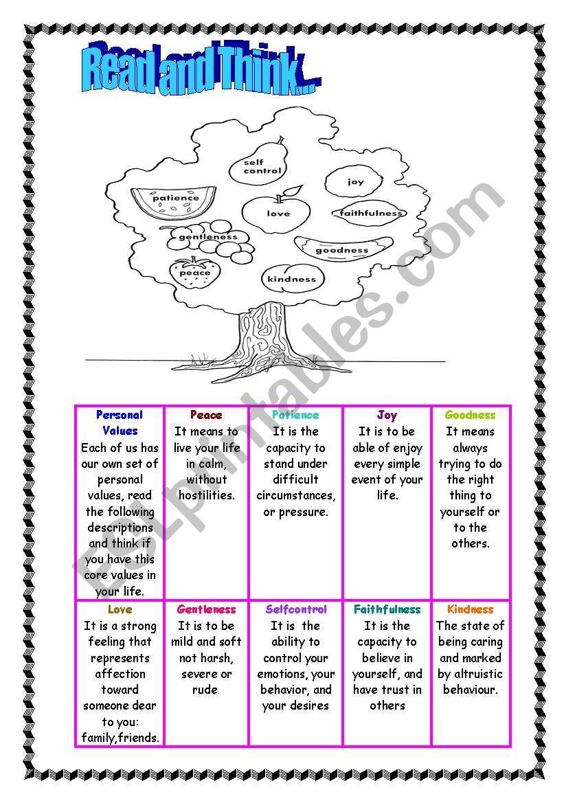 English Worksheets Personal Values Read And Think