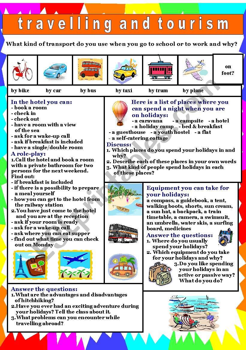 Travelling & tourism worksheet