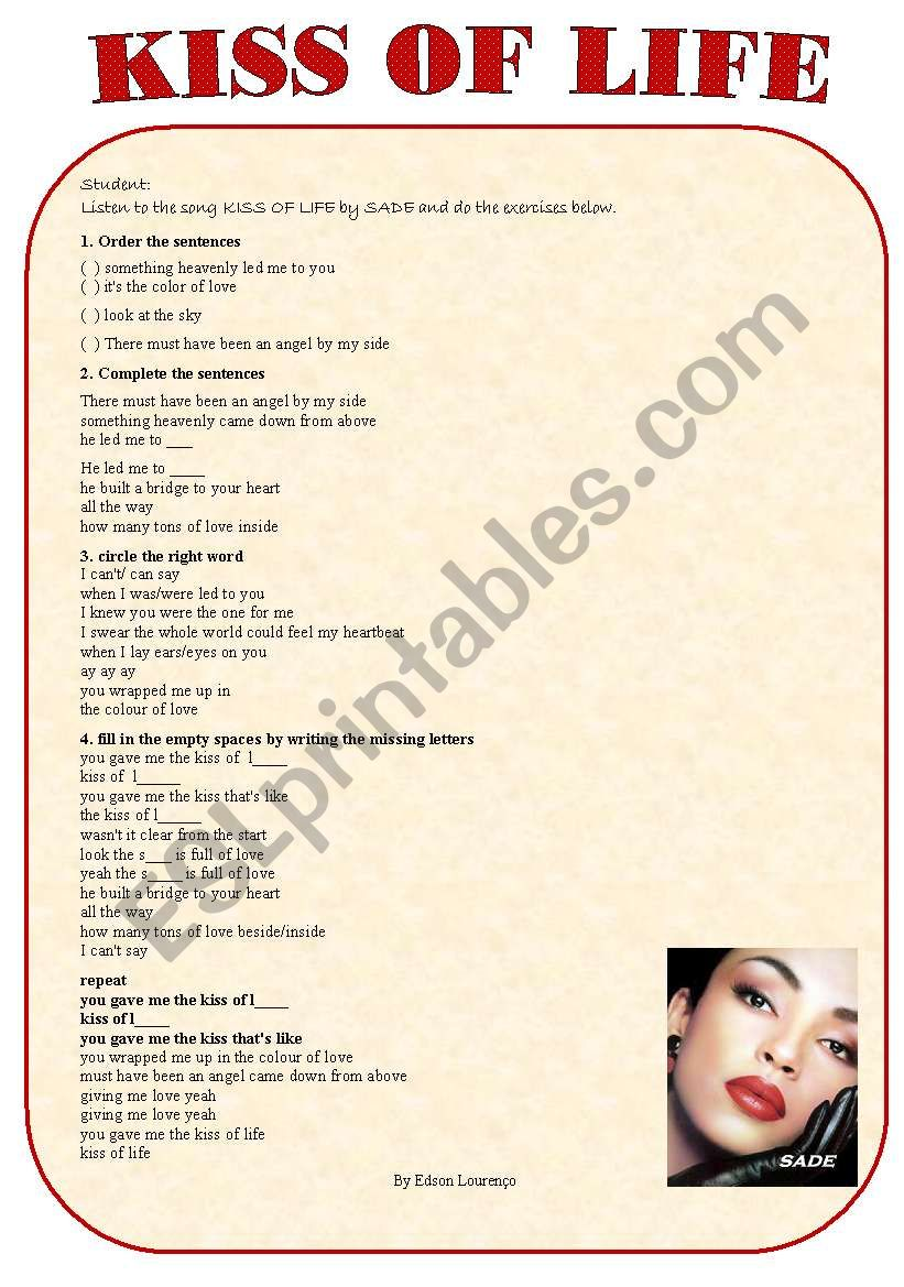 kiss of life worksheet