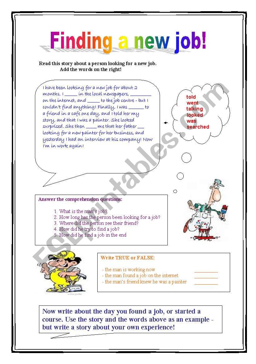Finding a new job! - ESL worksheet by pandy