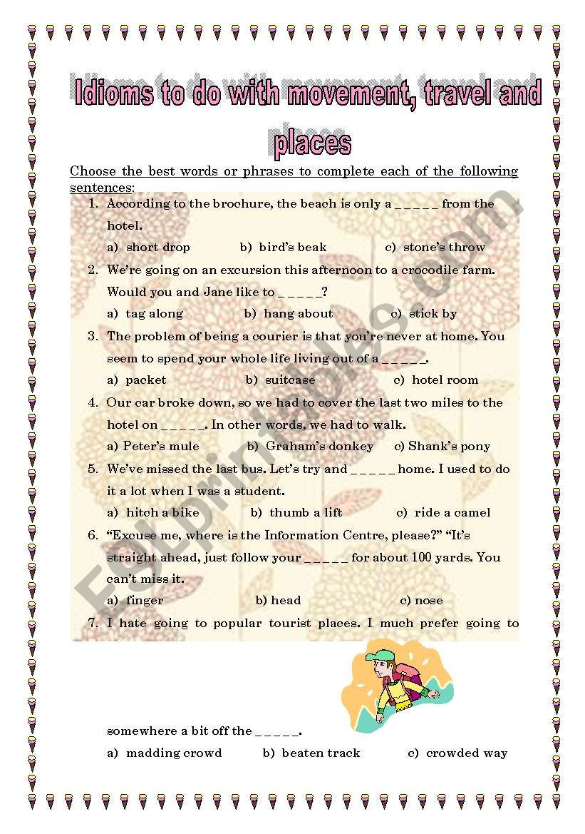 Idioms to do with travelling worksheet